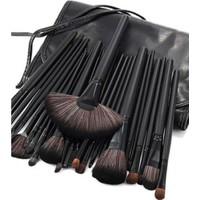 Izla 24 Parça Siyah Deri Çantalı Makyaj Fırça Seti
