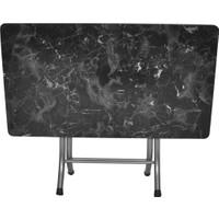 Çağdaş Siyah Mermer Desenli Katlanabilir Masa 60X110 Ebatında