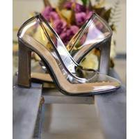 Papuç Platin Küt Burun Şeffaf Kalın Topuklu Ayakkabı