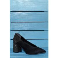 Papuç V Kesim Topuğu Taşlı Topuklu Ayakkabı