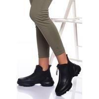Ayakkabı Frekansı Garis Bot Siyah Cilt
