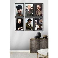 Dekor Sevgisi 6 Parça Çerçeve Görünümlü Mustafa Kemal Atatürk Pvc Tablo Seti