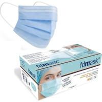 Fdmask Meltblown Cerrahi Maske 3 Katlı Full Ultrasonik Sertifikalı Burun Telli Mavi (50 Adet)