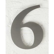 Se-Dizayn Kapı Numarası 20 cm No 6, Kendinden Yapışkanlı Paslanmaz Çelik Roma Yazı Tipi