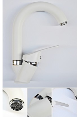 Guadro Beyaz Krom Banyo Lavabo Bataryası