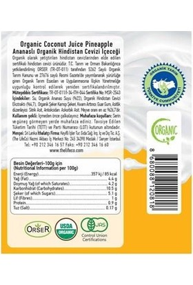 The Lifeco Ananaslı Organik Hindistan Cevizi Içeceği 250 ml