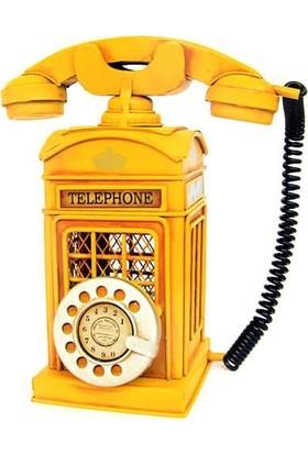 Evim Tatlı Evim Dekoratif Metal Sarı Kumbara Telefon Biblo