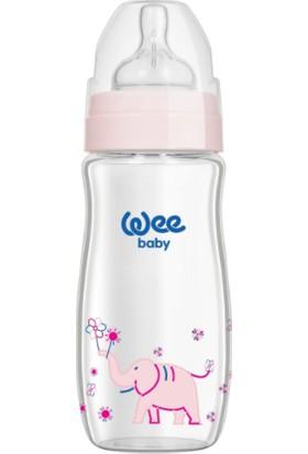 Wee Baby Klasik Plus 280 Ml Geniş Ağızlı Isıya Dayanıklı Cam Biberon - Pembe