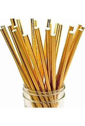 Evimsan 25 Adet Gold Altın Sarısı Karton Pipet