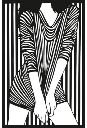 Berk Lazer Kadın Temalı Siyah Ahşap Tablo