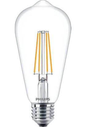 Philips LED Classic ST64 7W-60W 2700K Sarı Işık E27 LED Filament Ampul 10 Adet