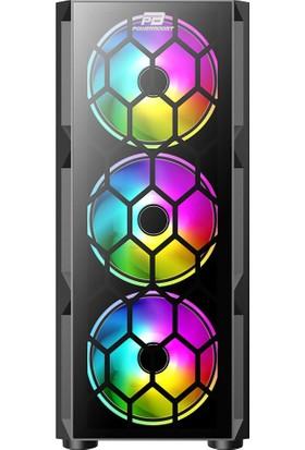 Power Boost VK-D502T 650W 80+ USB 3.0 ATX Tempered Glass Single Ring Rainbow Fan Siyah Kasa