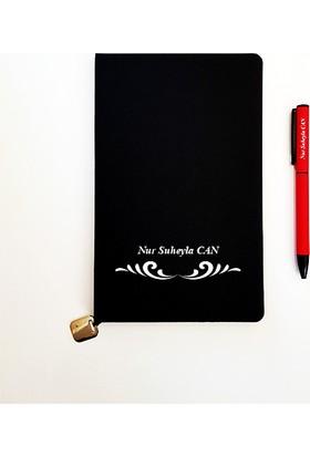 Mybamba Kişiye İsme Özel Yumuşak Thermo Deri Defter ve Kalem 1