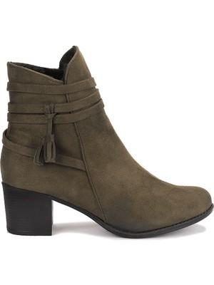 Ayakland 8423-832 Süet 6 cm Topuk Termo Taban Kadın Bot Ayakkabı Haki