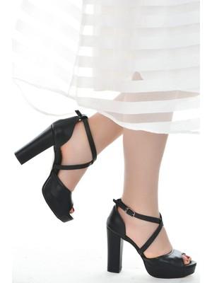Ayakland 3210-2058 Cilt Abiye 11 cm Platform Topuk Kadın Sandalet Ayakkabı Siyah