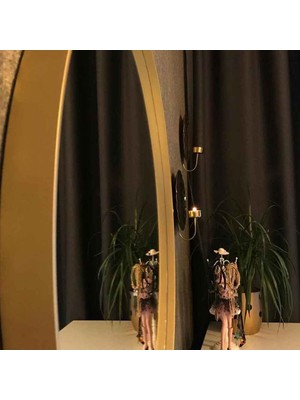 Otto Asu 50 cm Metalik Gold Çerçeveli Ahşap Dekoratif Ayna
