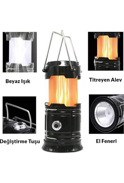 Shaver Kamp Feneri Şarj Edilebilir Usb'li ve Güneş Enerjili Işıldak Lamba, Masa Lambası, Kamp Lambası, Çadır Işığı