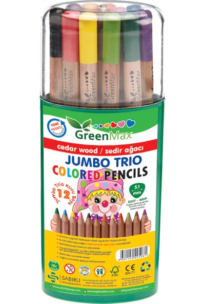 Green Max Jumbo Trio Kuru Boya Lead Başlangıç Kalemi 12 + 1 Renk