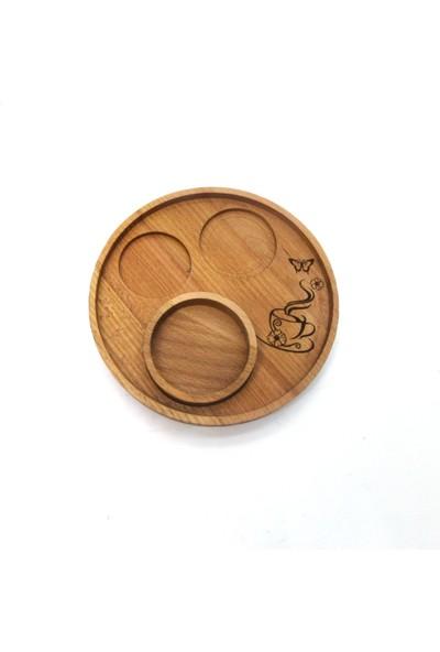 Masif Dekor Crc Serisi Bahar Desenli Kahve Sunumu 18CM