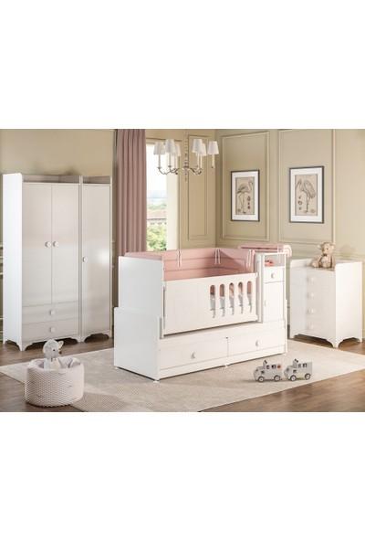 Afillibebek R 131A Rose Bebek Odası Takımı Beyaz