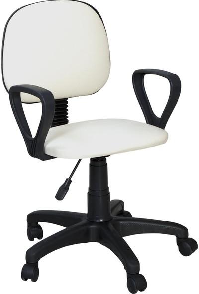 Bitirdin Beyaz Ofis Çalışma Sandalyesi