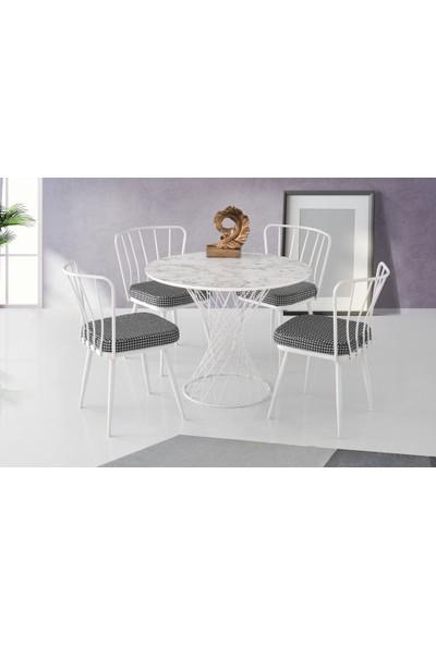 Modern Mermer Desen Yuvarlak Mutfak Masası ve 4 Adet Sandalye