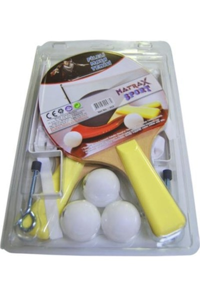 Matrax Oyuncak Kırmızı Fileli Masa Tenisi Raket Takımı