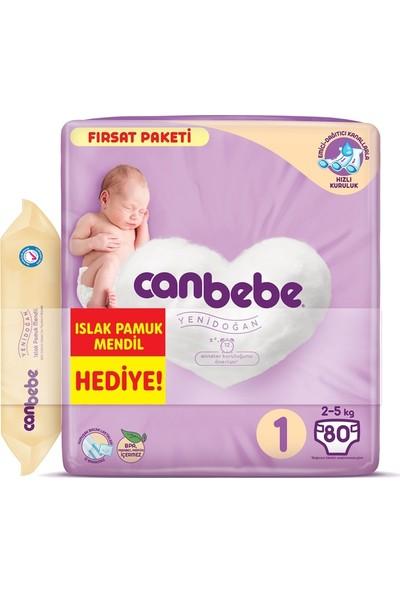 Canbebe Bebek Bezi 1 Beden Yenidoğan 2-5 kg 80 x 4'lü + Islak Mendil