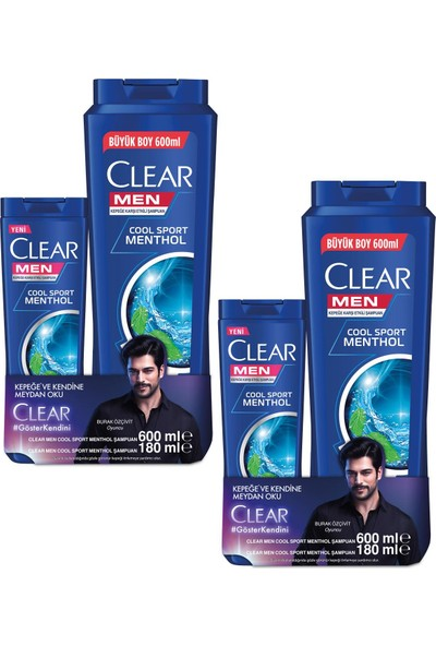 Clear Men Sampuan Cool Sport 600 ml + 180 ml x 2