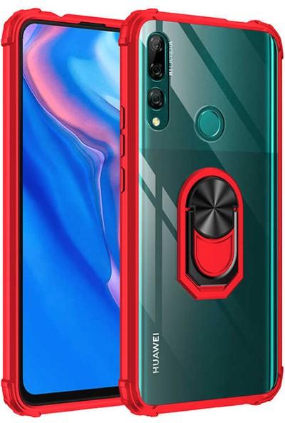 Herbütçeye Huawei Y9 Prime 2019 Yüzüklü Mıknatıslı Standlı Zırhlı Mola Sert Kapak - Kırmızı