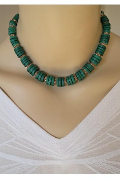 Dizayn Cam Yeşil Boncuk Zirkon Taşlı Tasarım Kolye