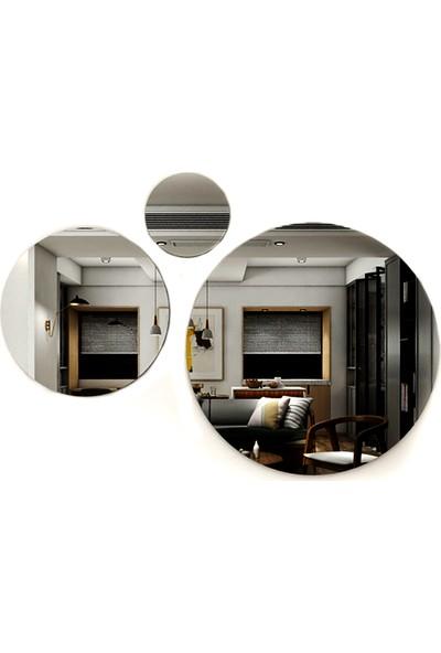 Camex 3 Parça 3 Ölçü Füme Dekoratif Yuvarlak Ayna Takımı
