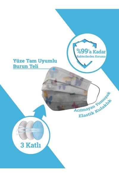 Ion Mask Kelebek Desenli Çocuk Medikal Cerrahi Maske 10 Adet