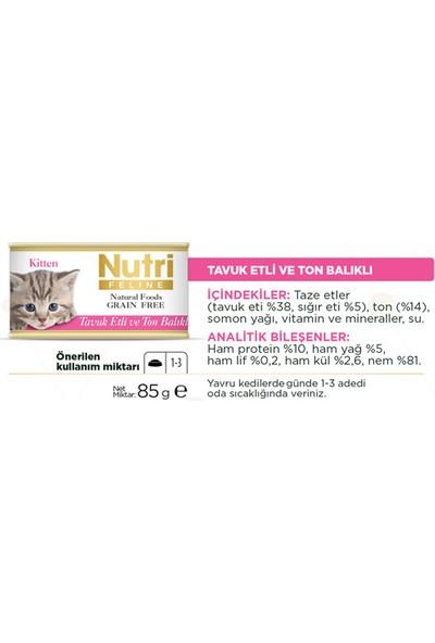 Nutri Feline Tahılsız Tavuk Etli & Ton Balıklı Yavru Yaş Kedi Maması 85 gr x 3 Adet
