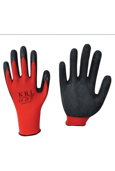 Krl 2000 Polyester Siyah Kırmızı Kaydırmaz Montaj Eldiven No:10