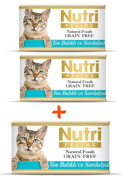 Nutri Feline Tahılsız Ton Balıklı & Sardalyalı Yaş Kedi Maması 85 gr x 3 Adet