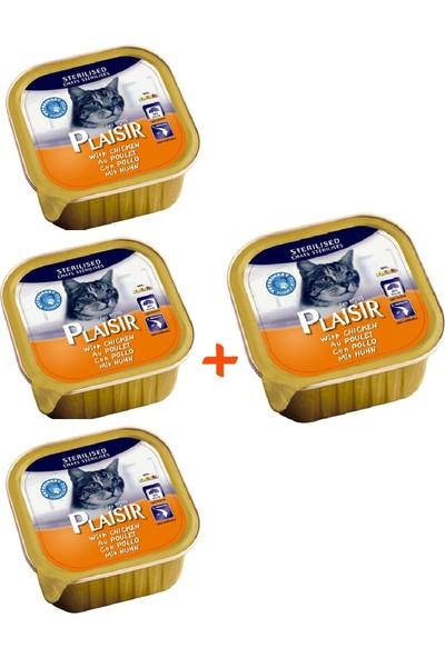 Plaisir Pate Kısırlaştırılmış Tavuk Etli Yaş Kedi Maması 100 gr x 4 Adet