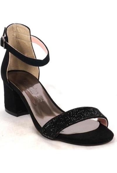 Ustalar Ayakkabı Çanta Siyah Süet Kadın Abiye Topuklu Ayakkabı 097.925.Y.3803