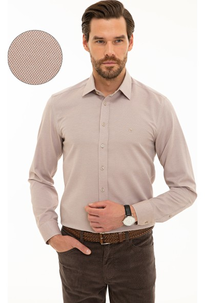 Pierre Cardin Erkek Açık Kahverengi Slim Fit Gömlek 50233546-VR002