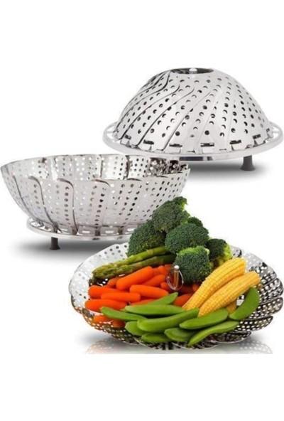 Evene Buharda Pişirme Aparatı Haşlama Sepeti Katlanabilir Sebze Pişirme
