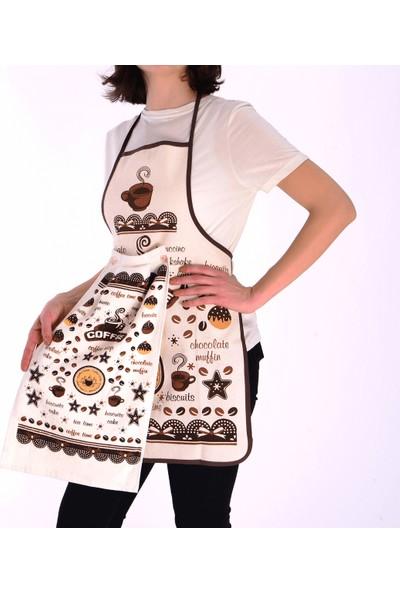Tekstil Sepeti Kahve Temalı Havlulu Mutfak Önlüğü