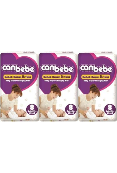 Canbebe 3'lü Bebek Bakım Örtüsü 8 Adet
