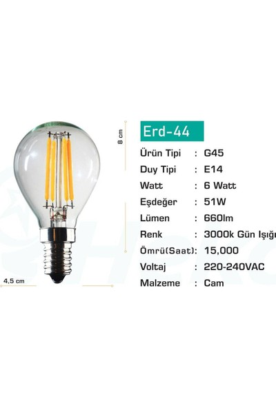 Heka LED Flament LED Ampul 6 W E14 Gün Işığı