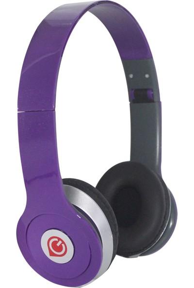 Glr E-12 Stereo Mikrofonlu Kulak Üstü Kulaklık-Mor