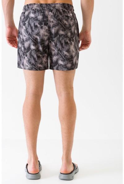 Skechers Swimwear M Brush Print Swim Short S201167-001 Erkek Siyah Deniz Şortu