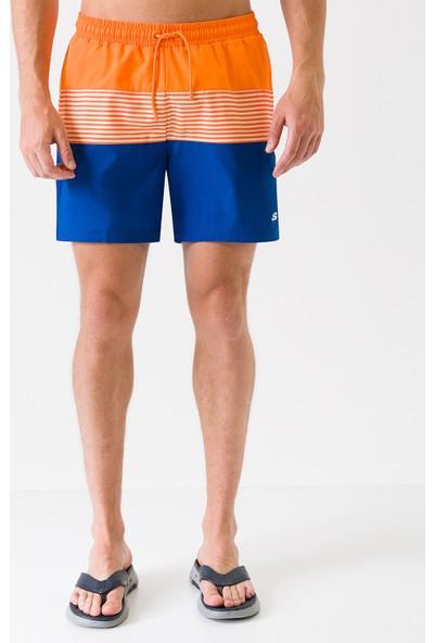 Skechers Swimwear M Colorblock Swimshort S201169-700 Erkek Turuncu Deniz Şortu