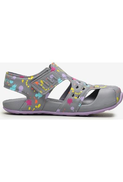 Skechers Side Wave - 86428L Gylv Büyük Kız Çocuk Gri Sandalet