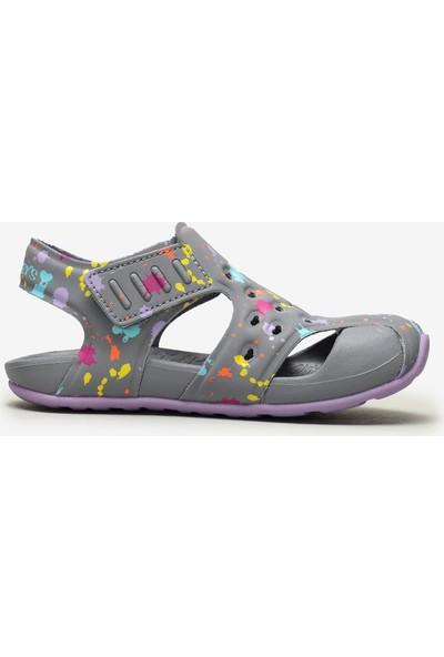 Skechers Side Wave - Küçük Kız Çocuk Gri Sandalet 86428N Gylv