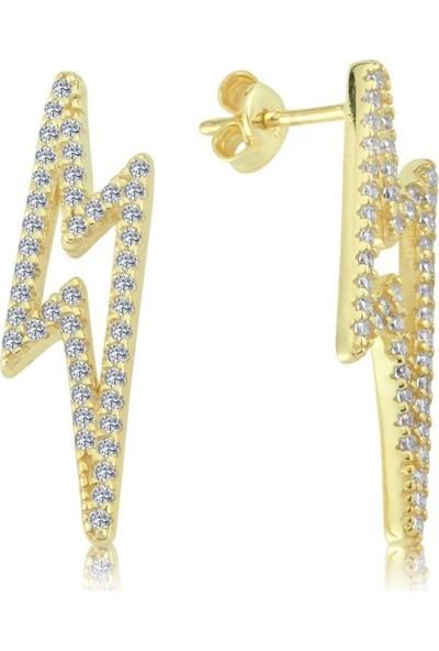 Mia Vento Işıltılı Şimşek Sarı Gümüş Küpe