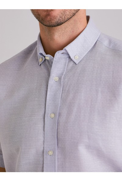 Dufy Açık Mavi Jakarli Erkek Gömlek - Regular Fit